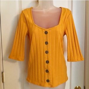 Free People Tops - FREE PEOPLE Golden Yellow Ribbed Knit Buttons